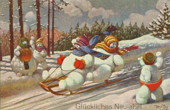 Thiele Postcard Snowman Winter Sports gdl -1